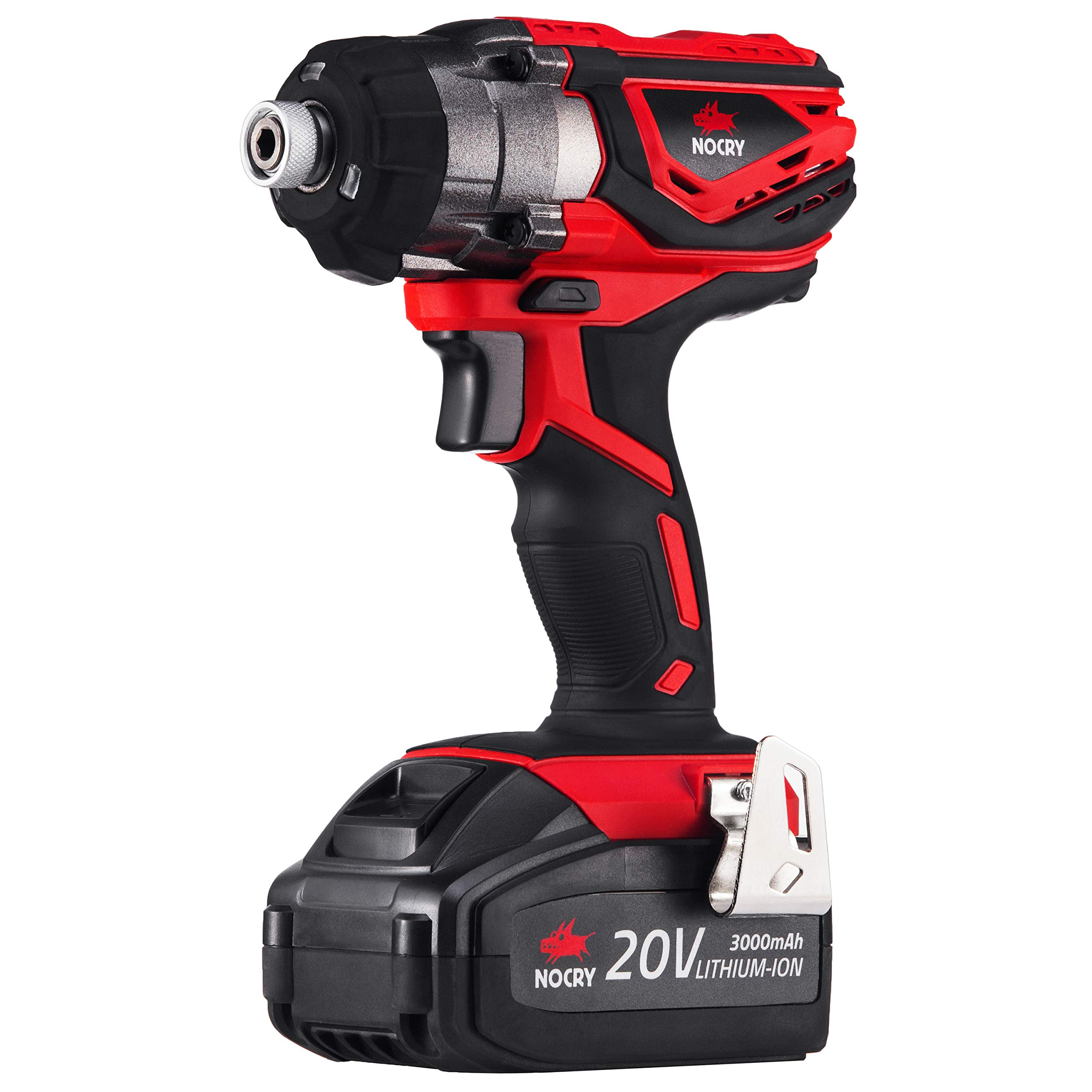 NoCry 20V Cordless Impact Driver Kit - 120 ft-lb (160 N.m) Torque, 3000 Max RPM/IPM, 1/4 inch Hex Chuck, LED Work Light, Belt Clip; 3.0 Ah Battery, Fast Charger & Carrying Case Included by NoCry (Image #7)