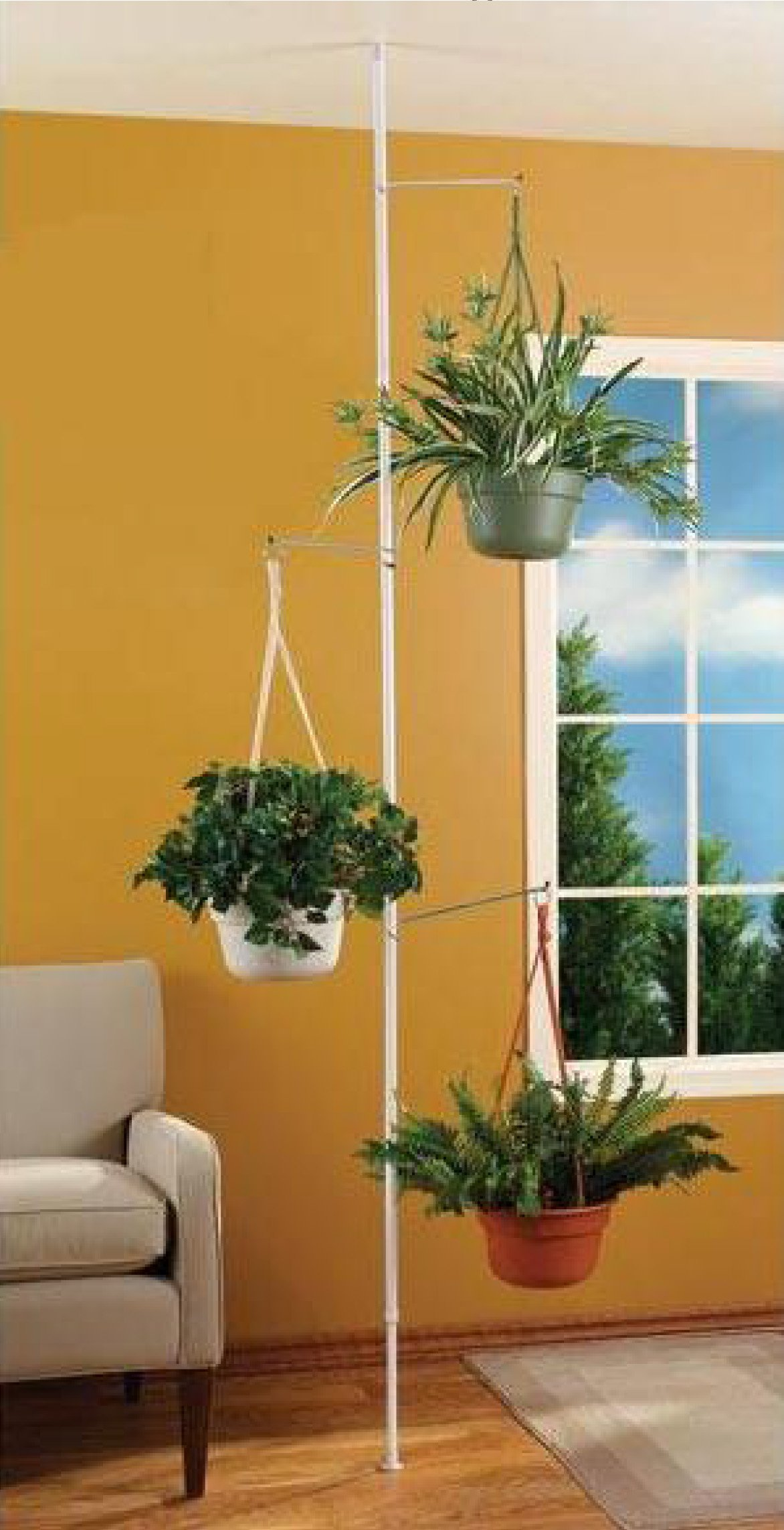 SPRING TENSION ROD INDOOR PLANT POLE WITH 3 ADJUSTABLE ARMS by INDOOR PLANT POLE