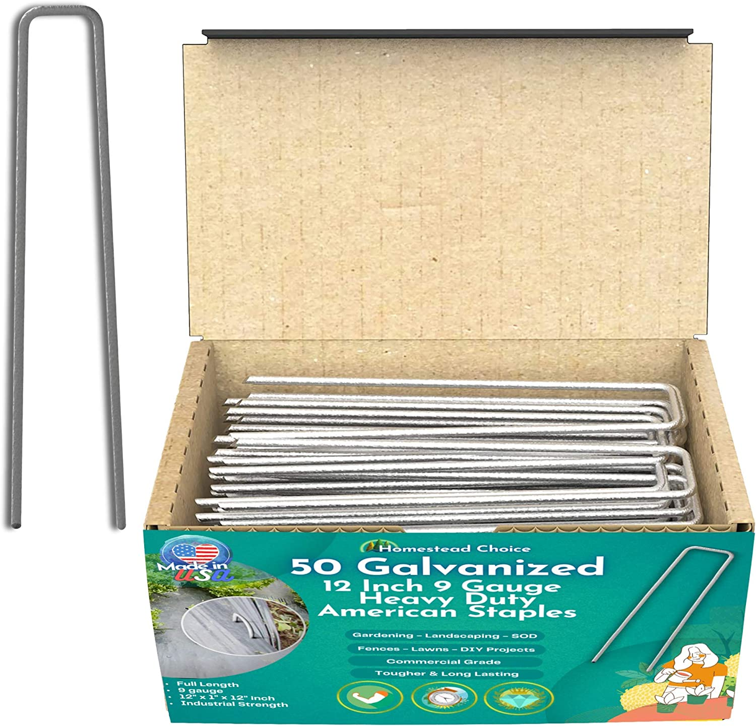 Homestead Choice 50 Count 12 Inch 9-Gauge Galvanized Staples - Made in USA - Garden Landscape Sod Staples - Anti-Rust Pins - Stakes for Weed Barrier Fabric, Ground Cover & Landscaping