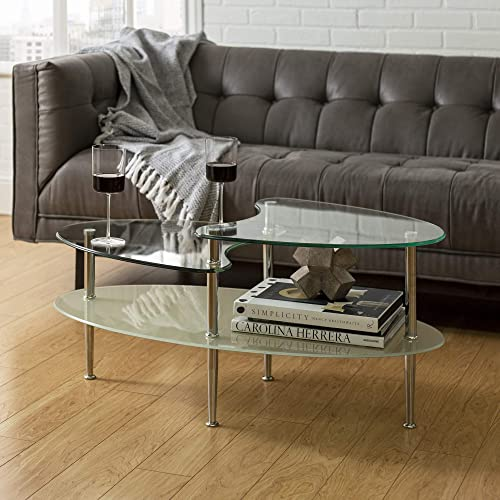 Home Accent Furnishings Harvey 38 Inch Oval Clear and Frosted Glass Multilevel Coffee Table