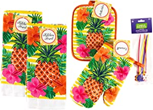 Nantucket Home Tropical Pineapples Kitchen Dish Towels Pot Holder Oven Mitt Set, 4pc: Colorful Summer Fun, Orange Pink Green Yellow White