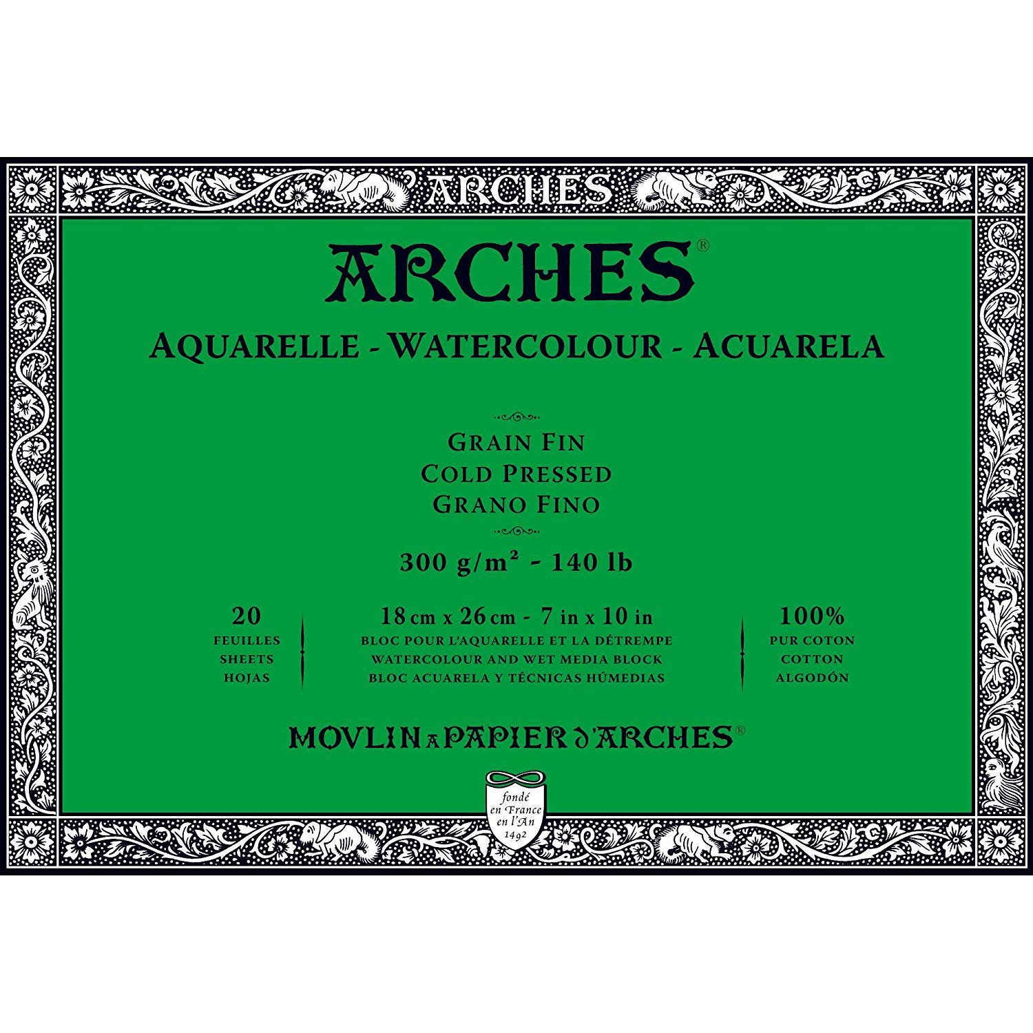 Arches Watercolor Paper Block, Cold Press, 7'' x 10'', 140 Pound - Double Pack