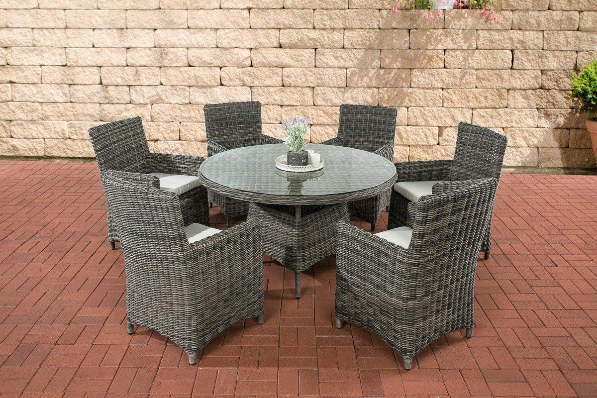 CLP Polyrattan Sitzgruppe LARINO grau-meliert (6 Sessel + Tisch 130x130 cm) INKL. bequeme Sitzkissen, Premiumqualität: 5mm Rund-Rattan grau-meliert, Bezugfarbe creme