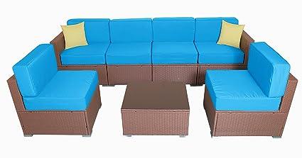 Amazon.com: Mcombo 6081 - Sofá de mimbre para exteriores (7 ...