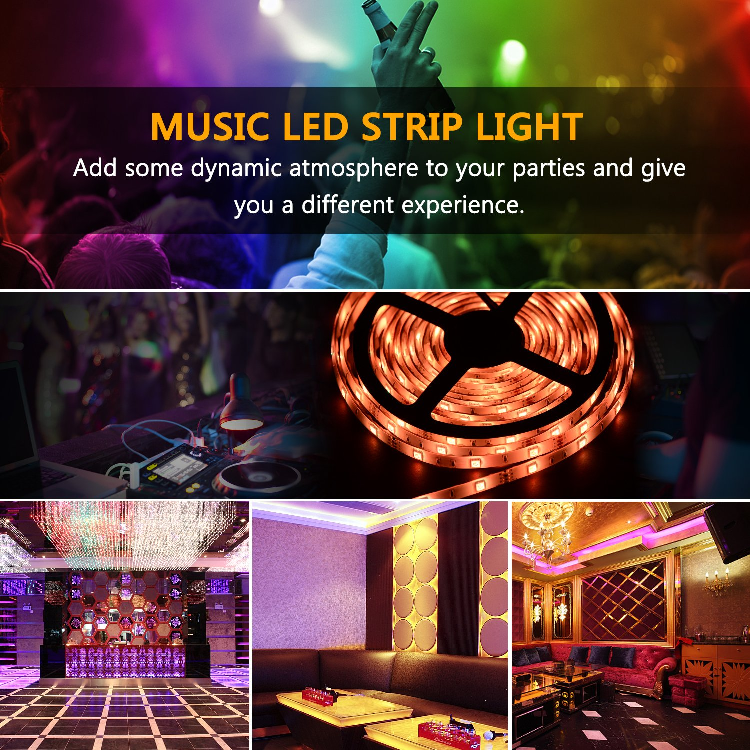 SUNNEST Music Activated LED Strip Light Kit, Waterproof 16.4ft 300 LEDs RGB SMD 5050 LED Tape with Remote Controller, IR Receiver, Power Supply, Sync with Music by SUNNEST (Image #8)