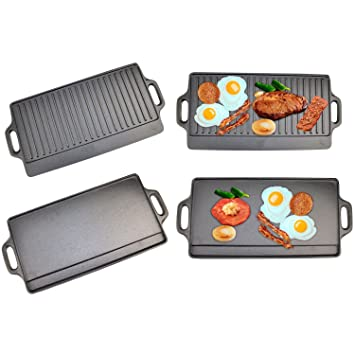 Plancha antiadherente, reversible, para barbacoa y cocina con fogón, de Top Home Solutions®: Amazon.es: Hogar