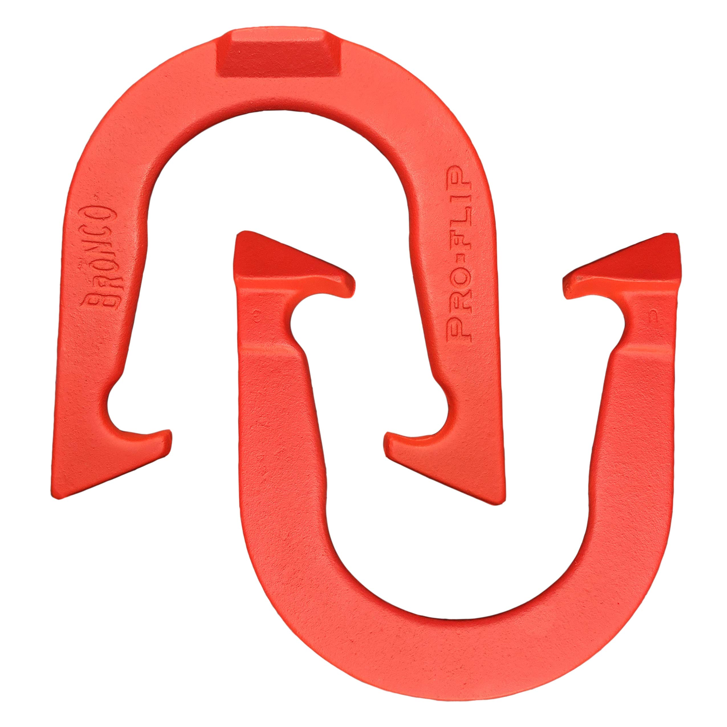 Bronco Pro-Flip Professional Pitching Horseshoes- Made in USA (Red- Single Pair (2 Shoes)) by Thoroughbred Horseshoes