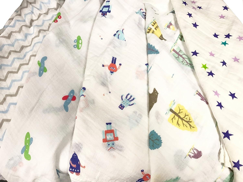 2pcs Extra Large 115cmx115cm Muslin Squares Cloths 100% Cotton BOY DESIGN baby bibs wipes just4baby