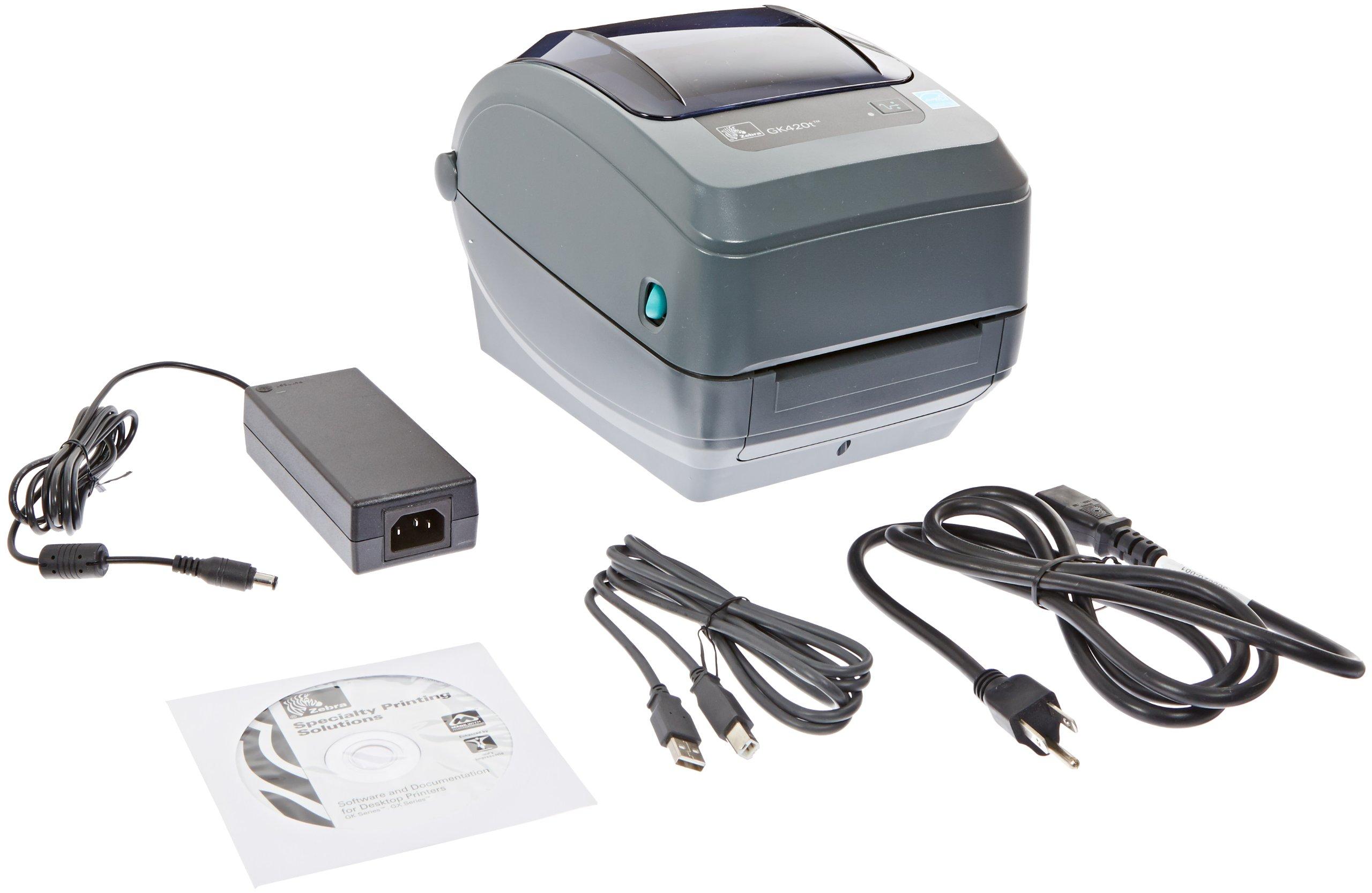 Zebra GK420t Monochrome Desktop Direct Thermal/Thermal Transfer Label Printer, 5 in/s Print Speed, 203 dpi Print Resolution, 4.09'' Print Width, 100-240V AC