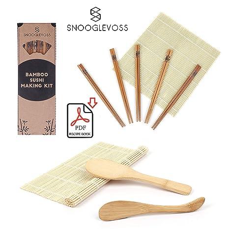Snooglevoss Bamboo Sushi Making Kit Includes 2 Sushi Rolling Mats 5 Pairs Of Chopsticks 1 Sushi Rice Spreader 1 Sushi Rice Spoon Free Pdf