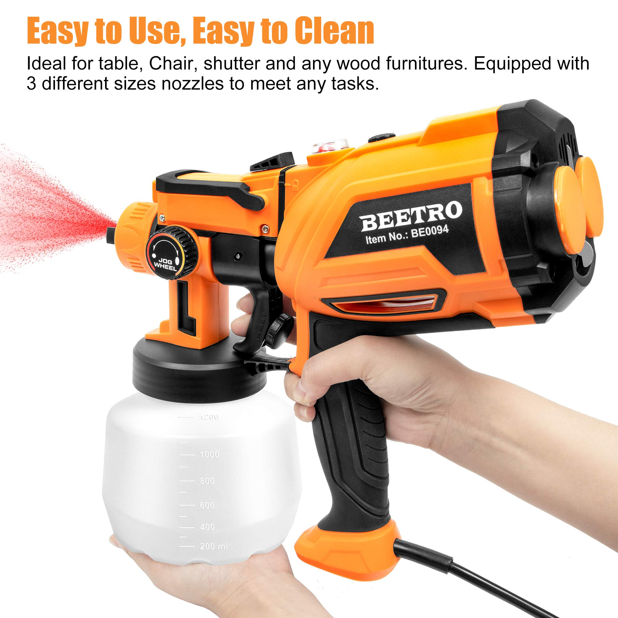 BEETRO Paint Spray Gun 550W High Power 450ml/min with 3 Premium Copper Nozzles and 20pcs 190 Micron Paint Strainers, 1200ml Container HVLP Electric Sprayer for Home Easy Spraying and Cleaning