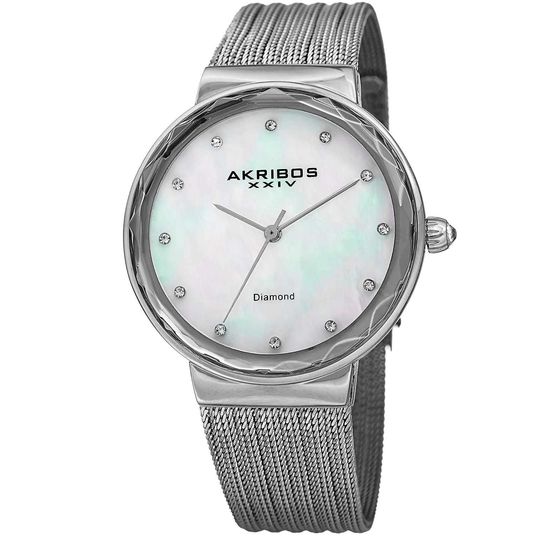 Amazon.com: Akribos XXIV Womens Quartz Diamond & Mother-of-Pearl Silver-Tone Fine Mesh Bracelet Watch - AK1009SS: Watches