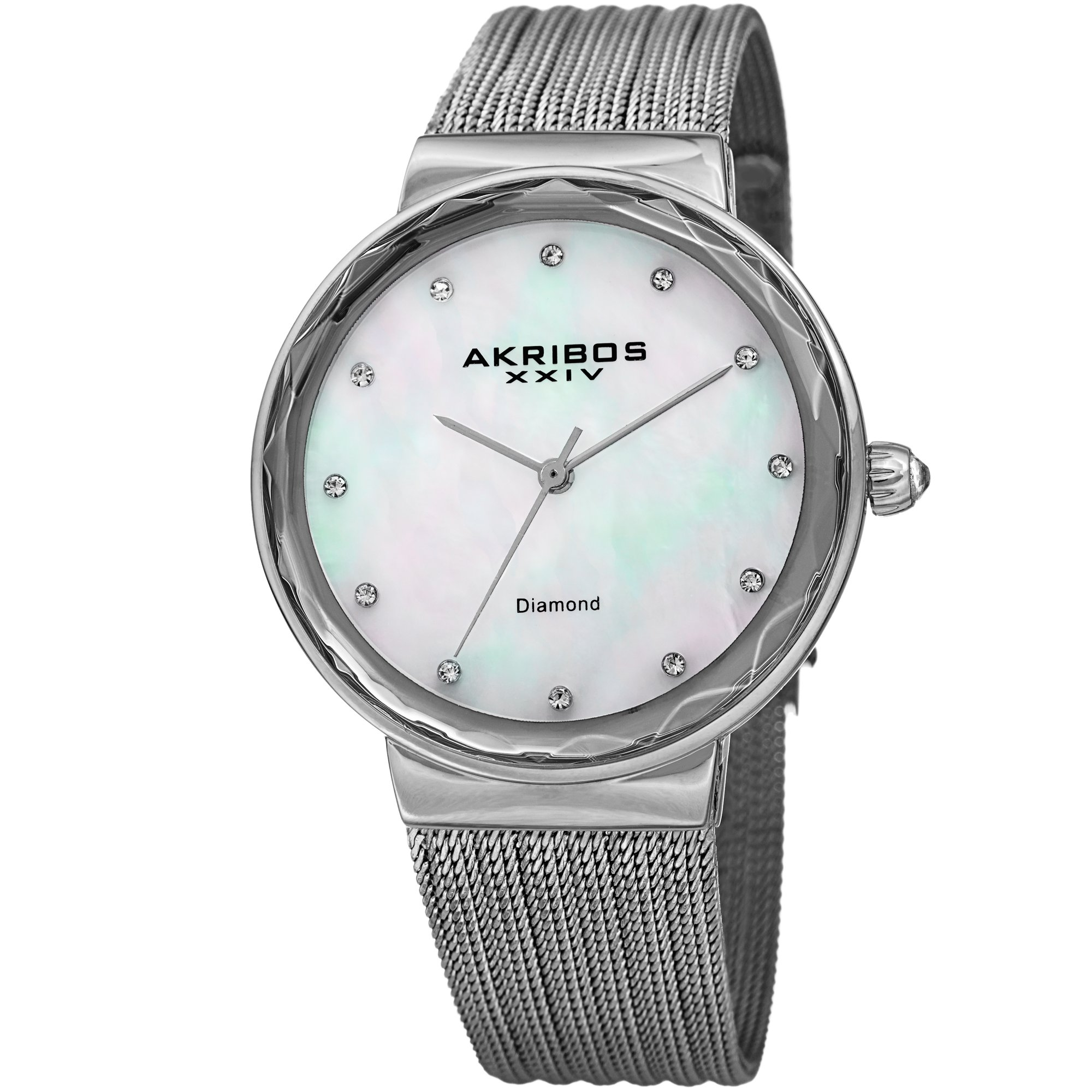 Akribos XXIV Women's Quartz Diamond & Mother-of-Pearl Silver-Tone Fine Mesh Bracelet Watch - AK1009SS