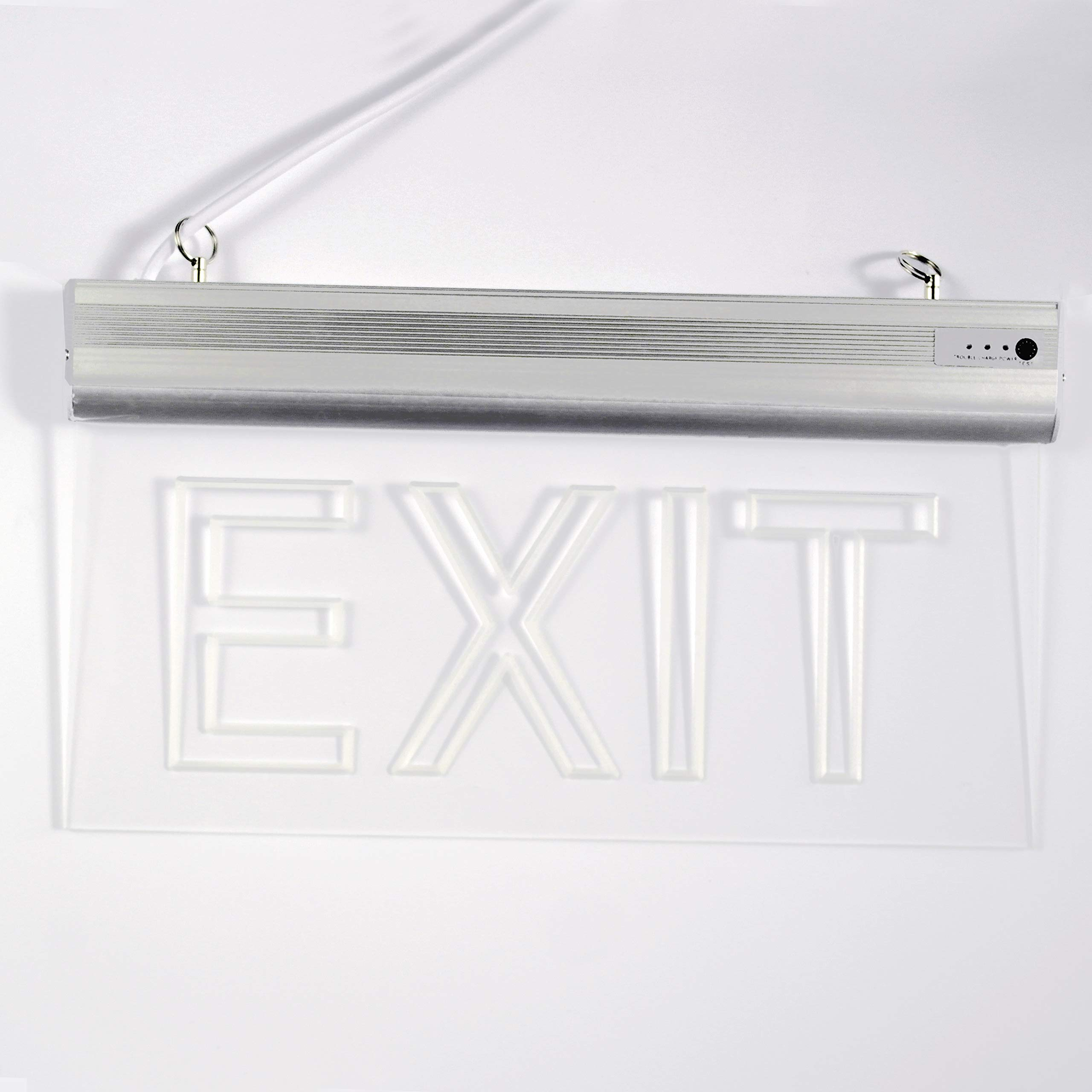 LFI Lights - 2 Pack - Certified - Hardwired Red LED Edge Light Exit Sign - Rotating Panel Battery Backup,Clear Panel(Green) by ryumei (Image #5)