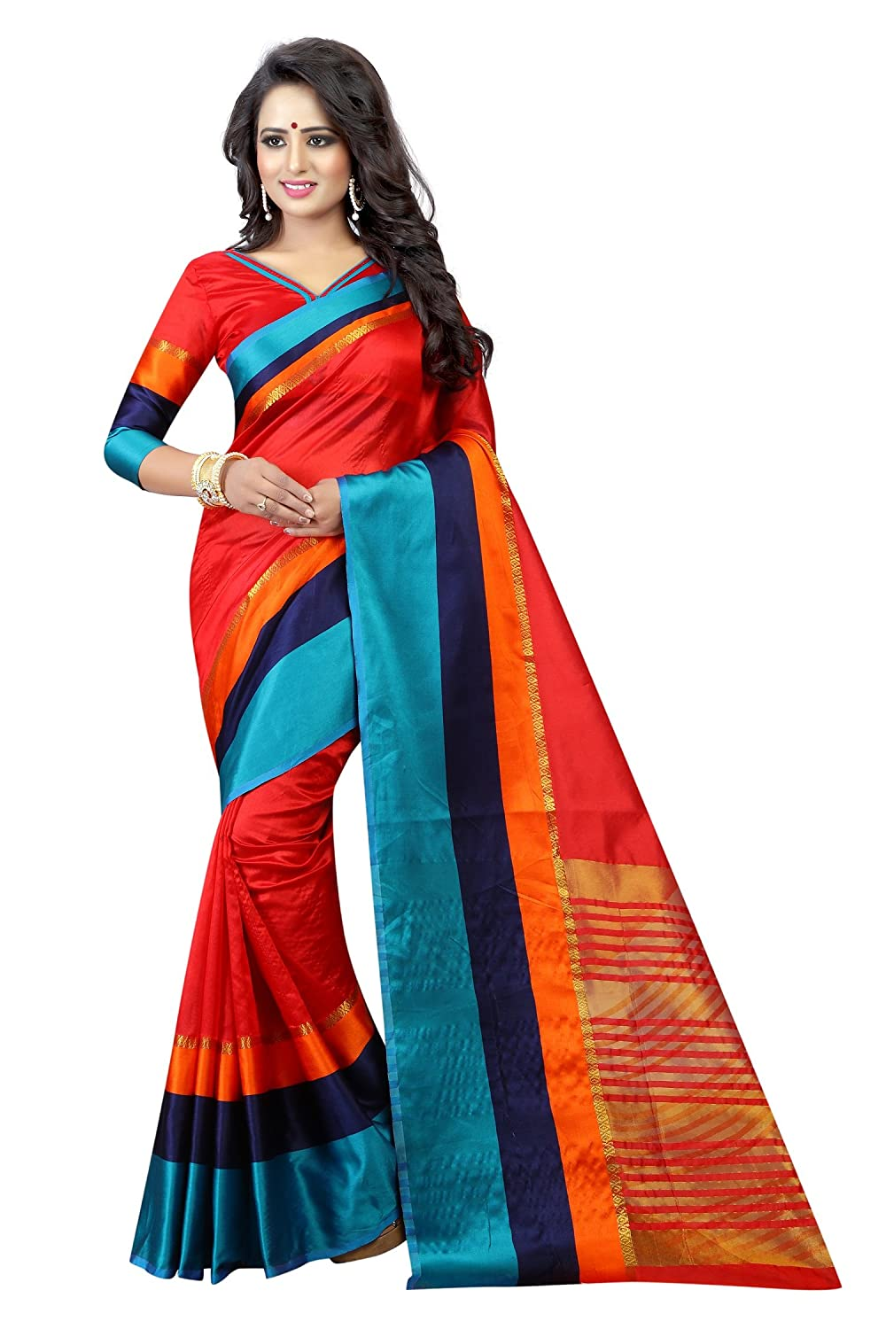 Women's cotton Silk Saree With Blouse Piece (ClassciVatiation2)