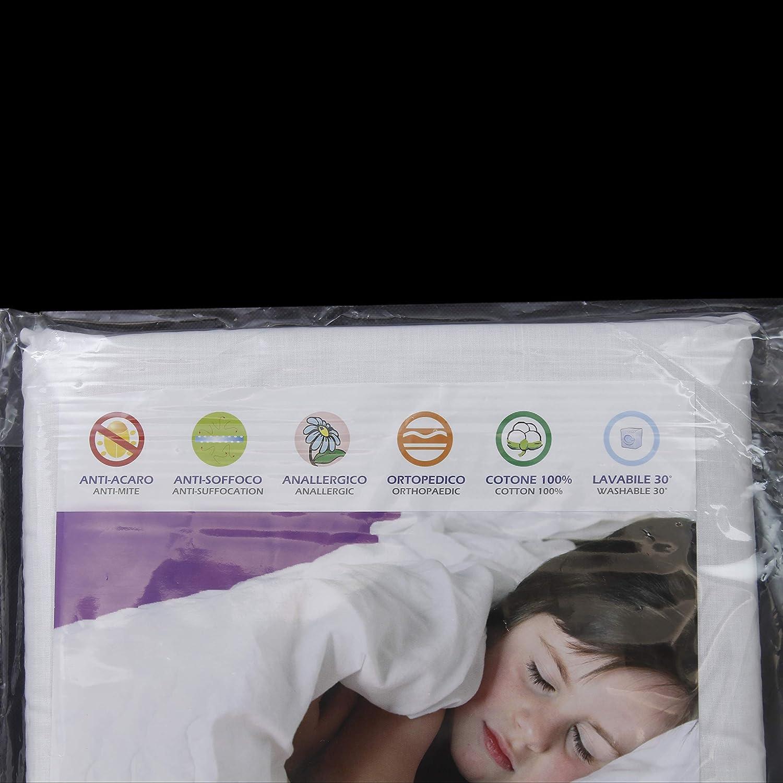 Cuscino SonnoSano Antisoffoco Antiacaro Lettino Ortopedico Rivestimento sfoderabile 100/% Cotone per Bambini 51 x 33 x 3 cm Culla Anallergico Sacca Bianco