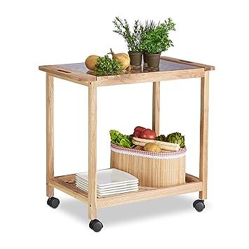 Amazon.de: Relaxdays Küchenwagen auf Rollen, Holz Servierwagen mit ...