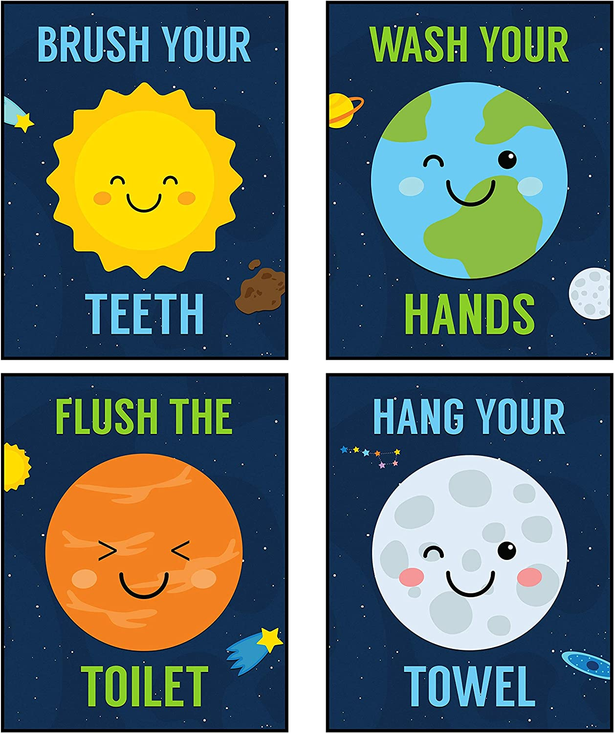 Silly Goose Gifts Space Rocket Solar System Planet Moon Themed Art Print Decor (Bathroom Set)
