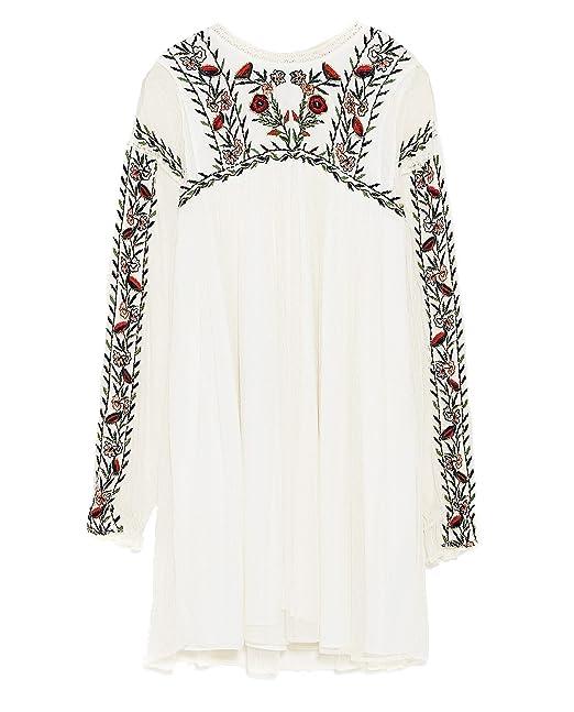 535c8c9b Zara Women Plumetis Embroidered Dress 7521/316 (Large): Amazon.ca ...