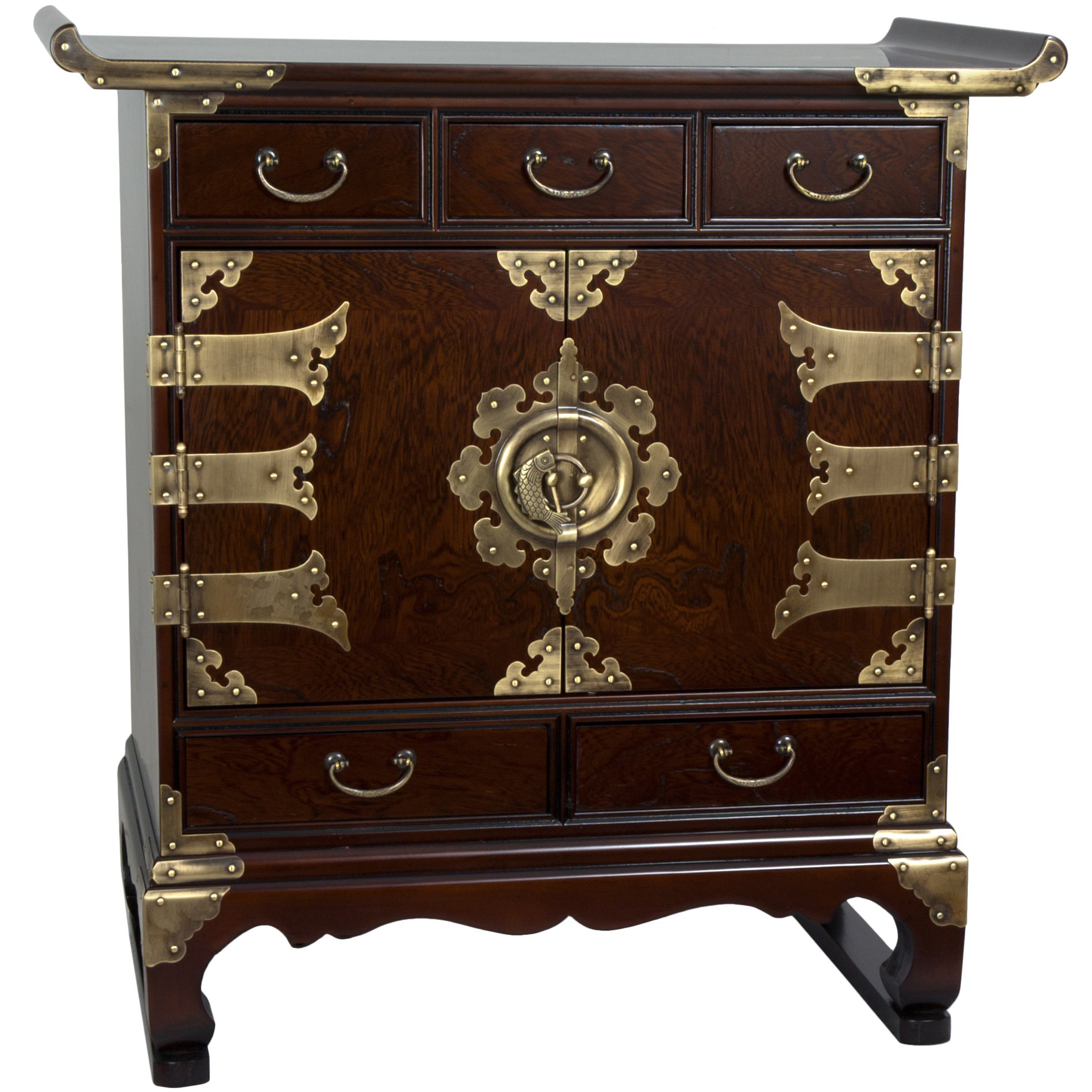 Oriental Furniture Korean Antique Style 5 Drawer End Table Cabinet