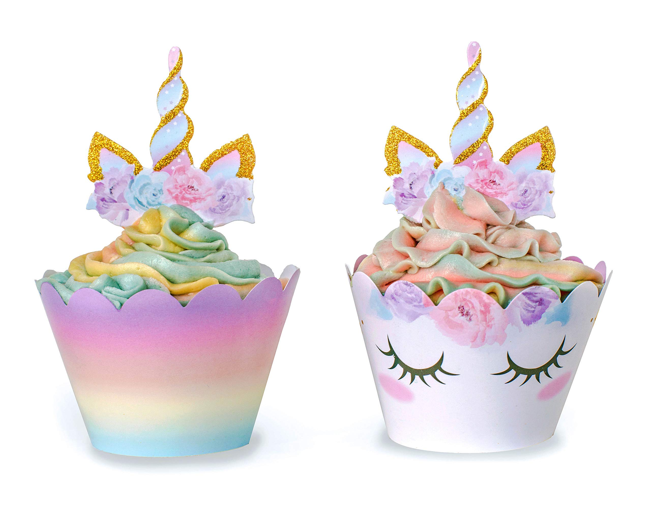 Unicorn Cupcake Decorations, Double Sided Toppers and Wrappers, Rainbow and Gold Glitter Decorations, Cute Girl's Birthday Party Supplies, 48 pcs - By Xeren Designs