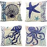 "Sunlilee 4 Pack Ocean Mediterranean Cotton Linen Throw Pillow Cushion Cover Case Squre 18"" X 18"""