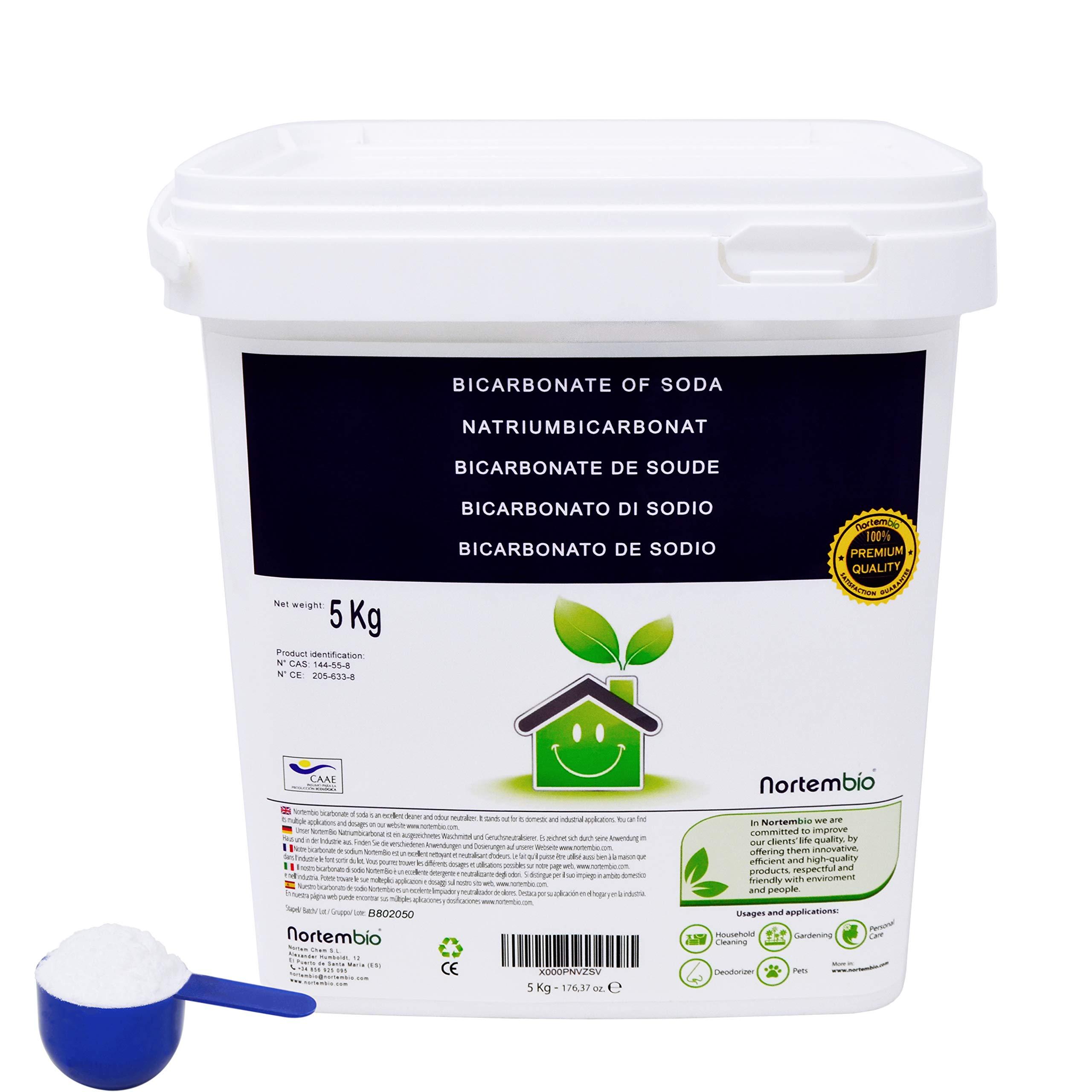 NortemBio Bicarbonato de Sodio 5 Kg, Insumo Ecológico de Origen Natural, Libre de Aluminio
