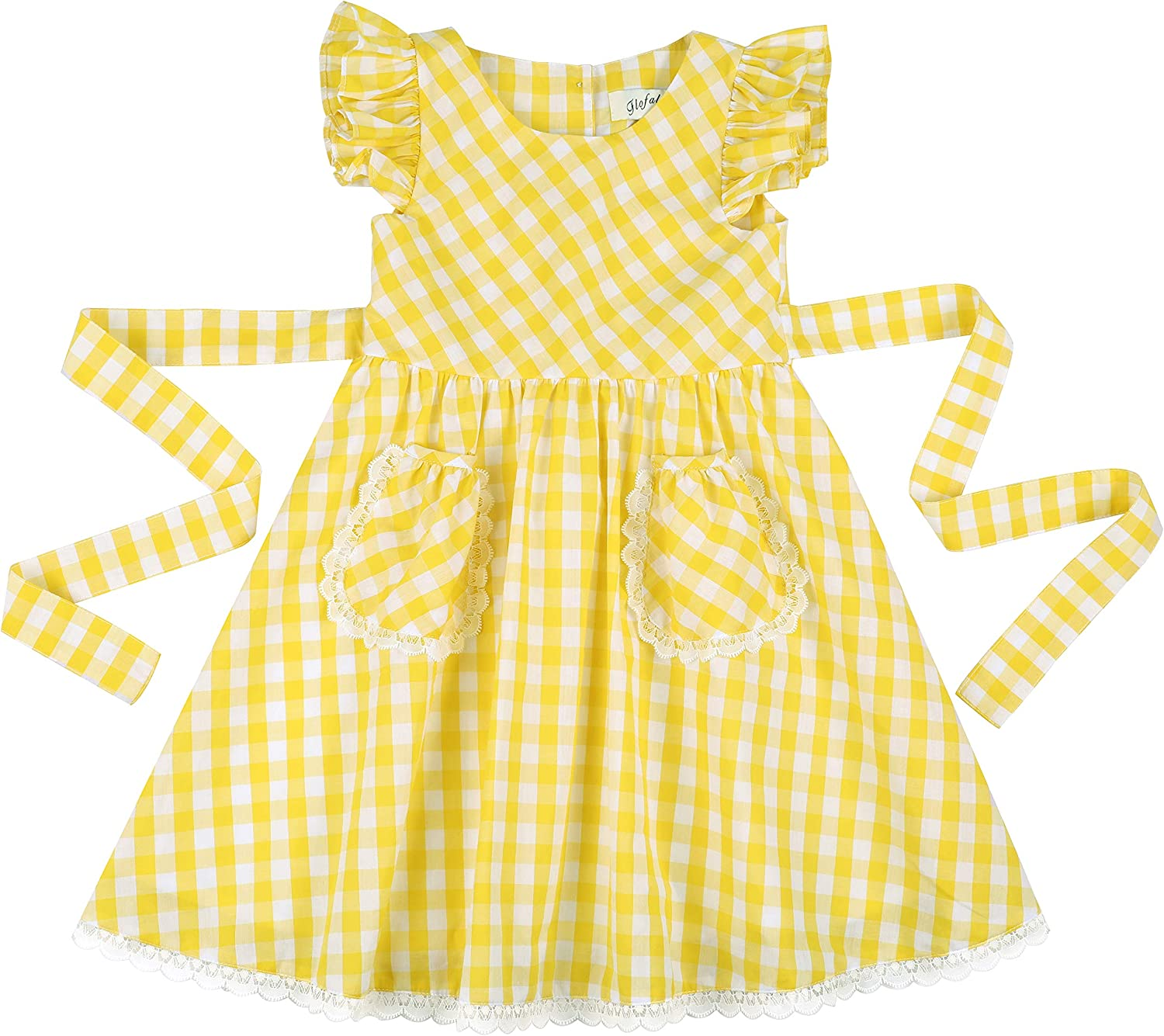 Kids 1950s Clothing & Costumes: Girls, Boys, Toddlers Flofallzique Girls Gingham Dress Summer Plaid Casual Toddler Sundress with Pockets $24.99 AT vintagedancer.com