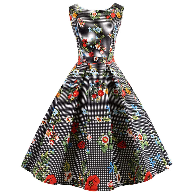 8 colorfulspace Women Sexy Summer Dress Sleeveless Vintage Elegant Floral Print Dresses Plus Size