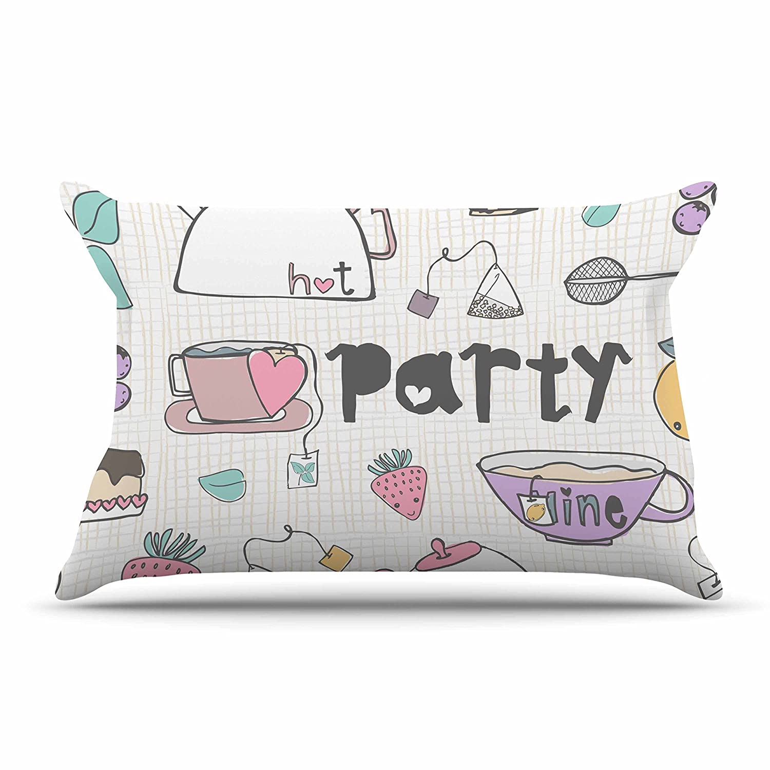 30 X 20 30 by 20-Inch Kess InHouse MaJoBV Tea Party White Multicolor Standard Pillow Case