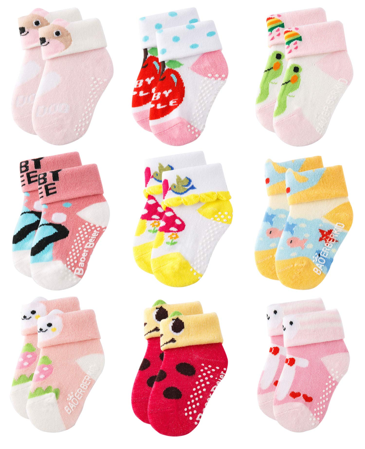 Growth Pal 9 Pack Non Skid Anti Slip Baby Socks with Grips Cotton Socks for Walking Toddlers 0-36 Months Girl-01 by Growth Pal