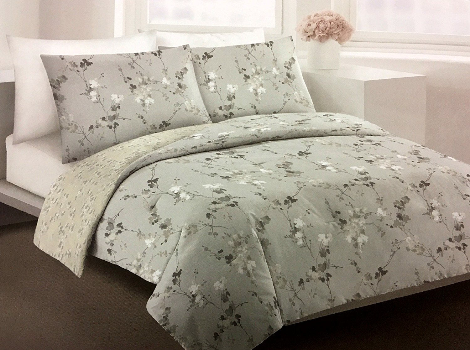 DKNY Wallflower Printemps Vines KING Duvet 3-pc Set | Watercolor Floral Blooms and Branches | 100% Cotton Gray, Tan, Taupe | Reversible by DKNY