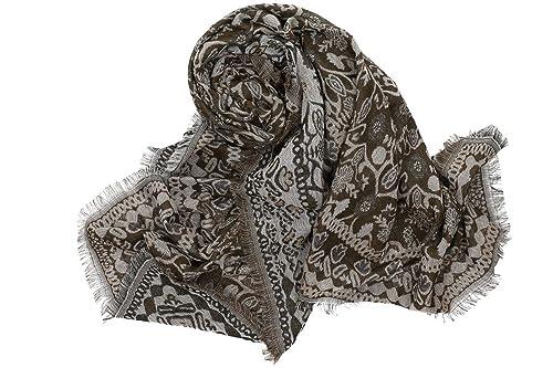 Sciarpa donna ROMEO GIGLI moro sciarpone con frange effetto damascato