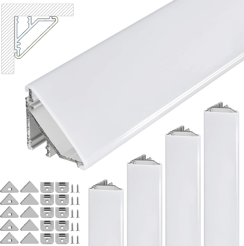 6*1m Profil/é dangle /à LED en aluminium 45 degr/és Profil/é en aluminium pour bandes LED//baguettes avec blanc Cache laiteux Silver Argent embouts et pince de montage