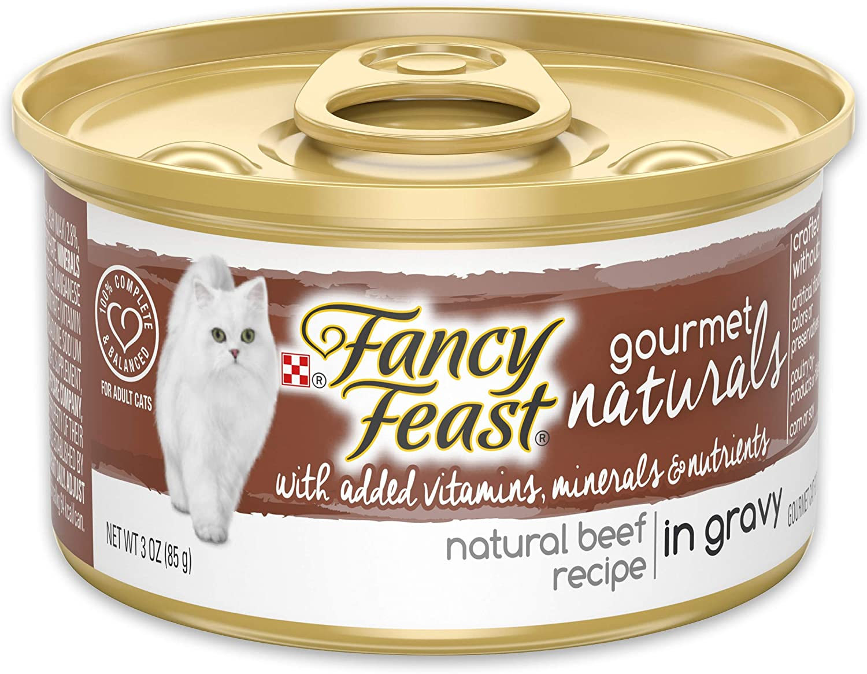 Purina Fancy Feast Natural Wet Cat Food, Gourmet Naturals Beef Recipe in Gravy - (12) 3 oz. Cans