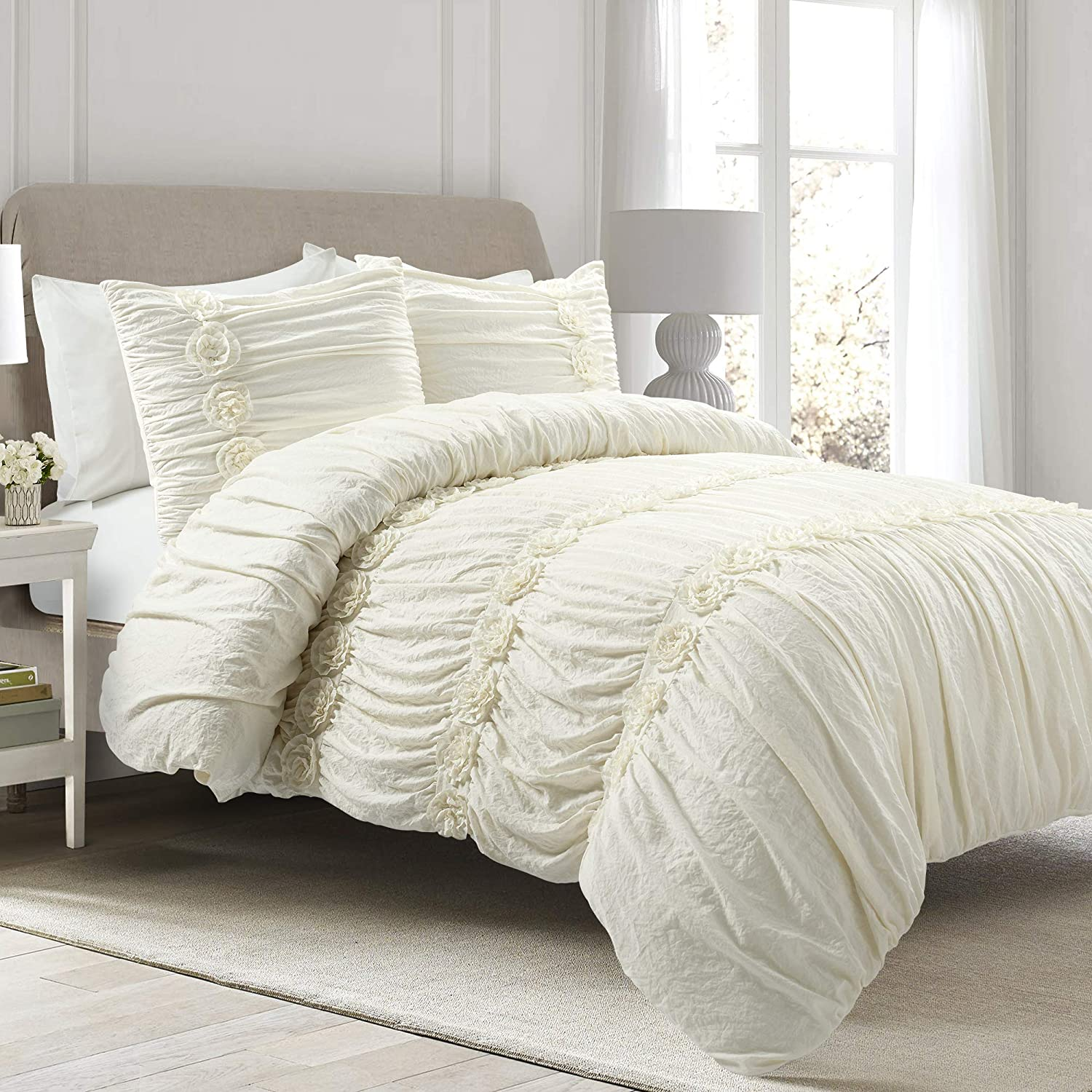 Lush Decor, Ivory Darla 3 Piece Comforter Set, King