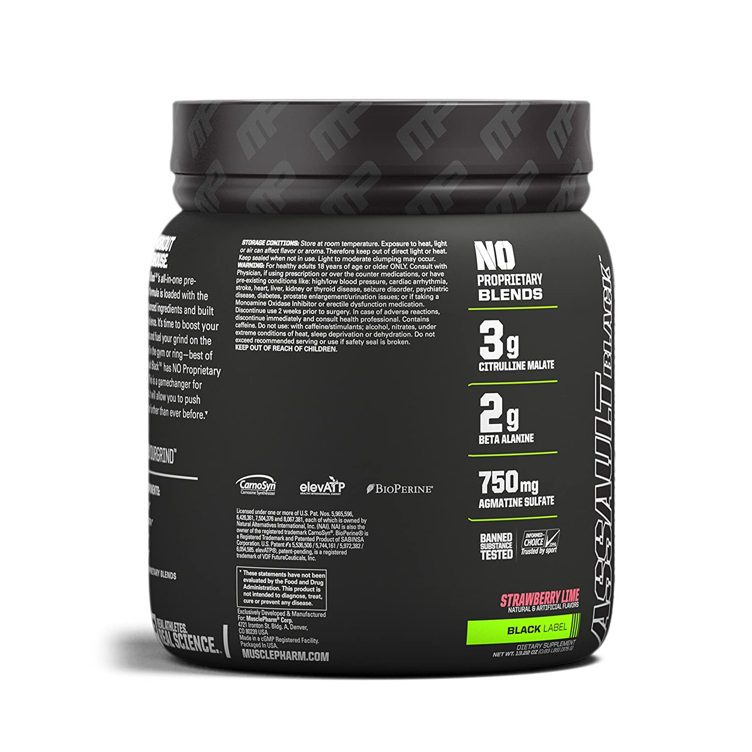 MusclePharm Assault Black Pre-Workout Supplement, Strawberry Lime, 30 Servings