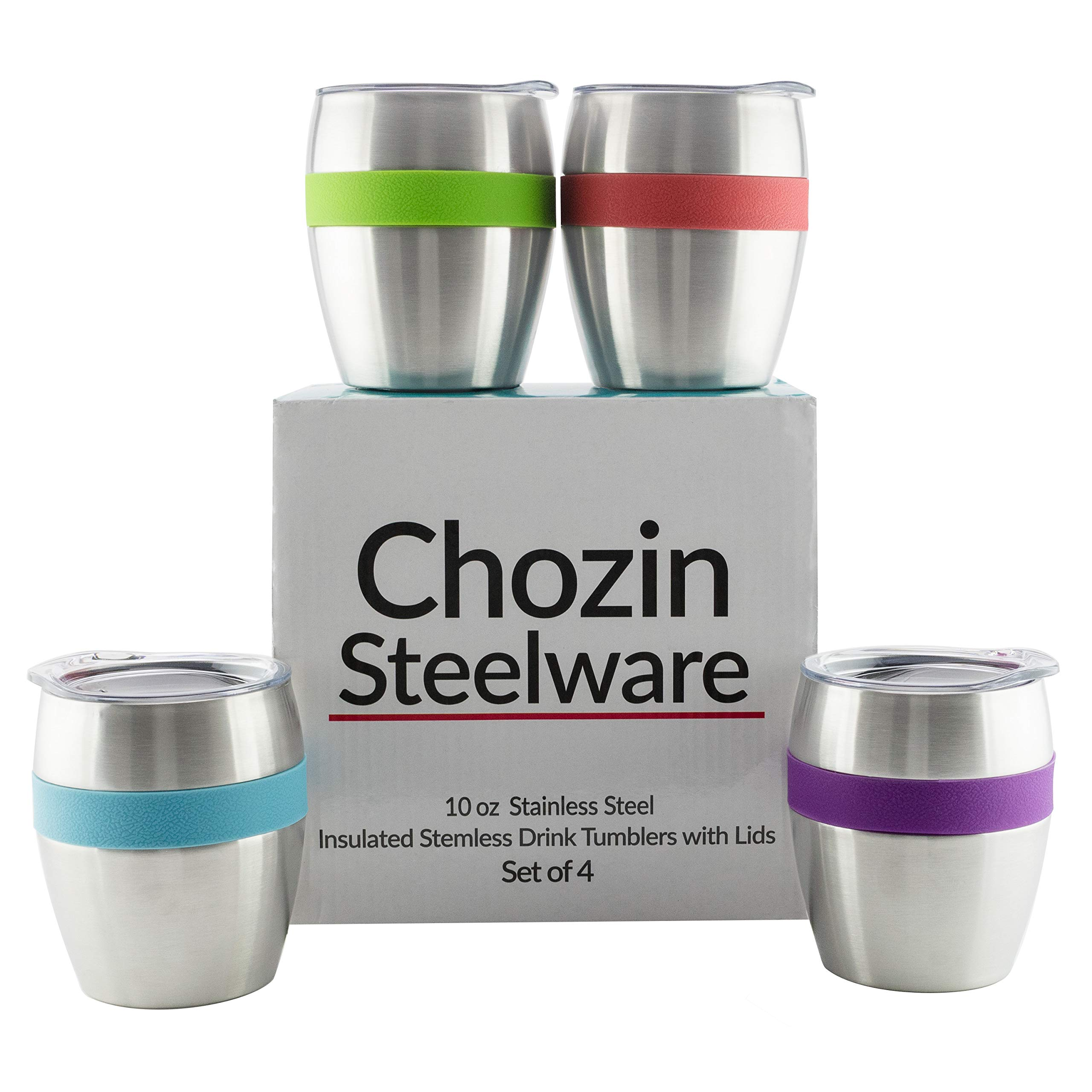 Stainless Steel Wine Glasses with Lids, Set of 4, Double Wall Insulated Stemless Wine and Drink Tumblers with Spill-Resistant Lids with Built -in 4 Color Comfort Grips by Chozin Steelware (Image #1)
