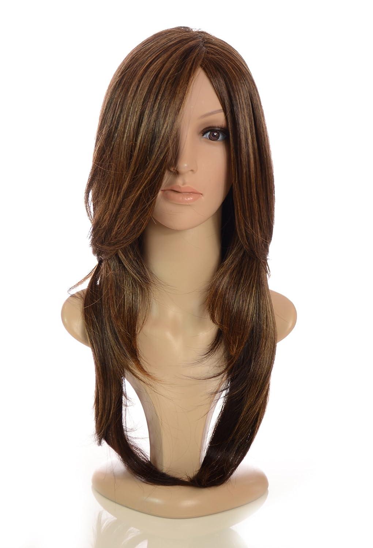 Peluca de monofilamentos con pelo largo, liso y capeado de gama alta en color pelirrojo | Capas que enmarcan el rostro | Peluca con look natural de gran ...