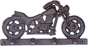 Key Hooks,Rustic Iron Motorcycle Keys Hooks with 4 Hooks Cast Iron Key Hanger Screws and Anchors Include