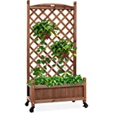 Best Choice Products 60in Wood Planter Box & Diamond Lattice Trellis, Mobile Outdoor Raised Garden Bed for Climbing…