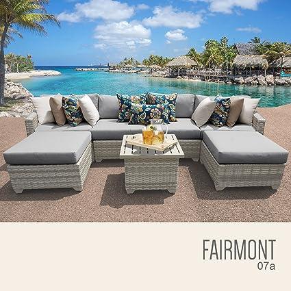 amazon com tk classics fairmont 07a grey 7 piece outdoor wicker rh amazon com