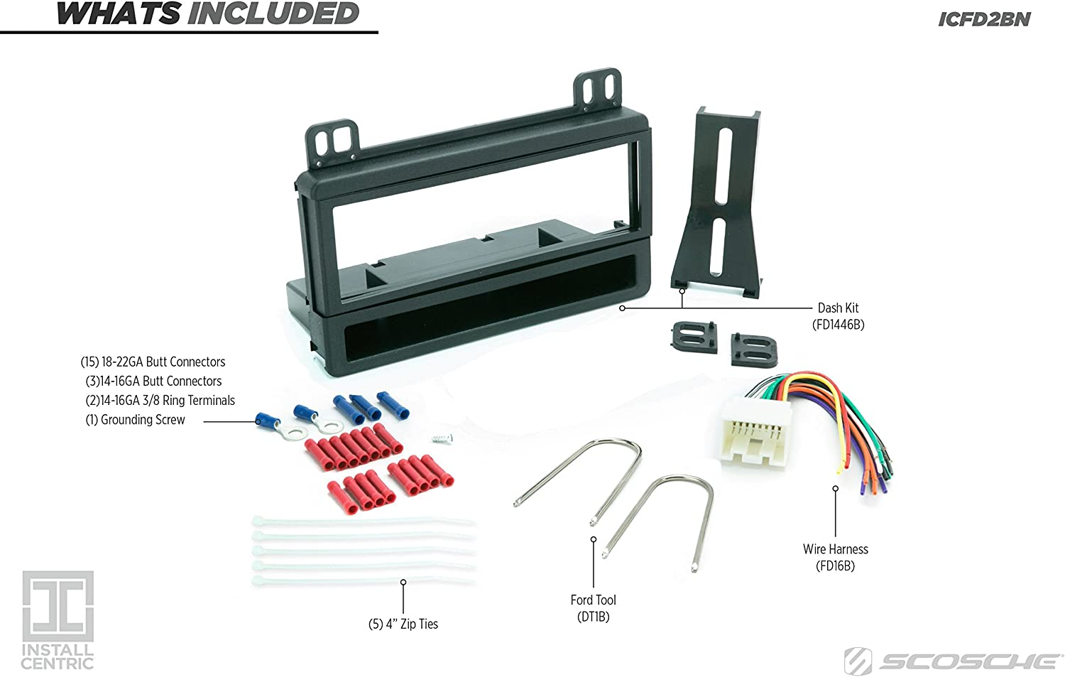 Scosche Dash Kit for 1995-Up Ford//Lincoln//Mercury Combo Panel Kit