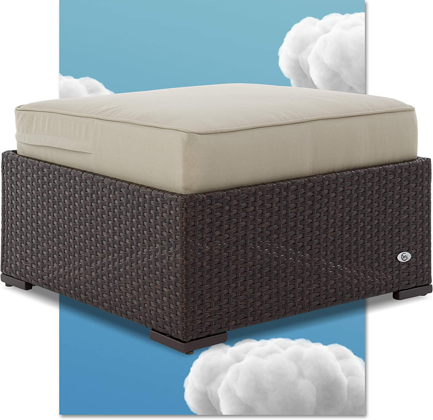 Serta Laguna Resin Outdoor Patio Furniture Collection, Ottoman, Brown Wicker