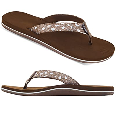 Scott Hawaii Sandals for Women | Hanalei Every Day All-Day Cushioned Flip-Flop | Arch Support Secure Toe Post | Polka Dot Designed Strap Soft Neoprene Lined Water Ready Adventure Scotts | Flip-Flops