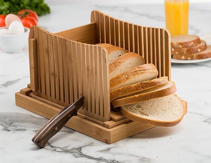 Compra Bambüsi - Cortador de pan de bambú para panes caseros y pan de molde - incluye una guía compacta y plegable para cortar pan y un cortador de pan de ...