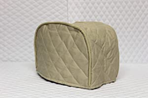 """2 Slice Toaster Cover (11""""x6.5""""x7.5"""") / Quilted Double Faced Cotton, Beige"""