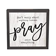 P. Graham Dunn Don't Worry About Anything Pray 11 x 11 Inch Solid Pine Wood Farmhouse Frame Wall Plaque
