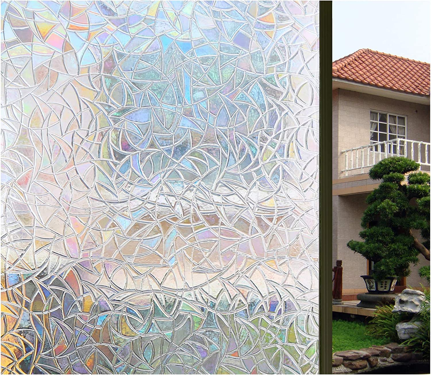 Bloss 3D Window Film Decorative Window Films Stained Glass Film Static Cling Window Film Window Cling No-Glue Heat Control Home Décor, 17.7 by 78.7 Inches