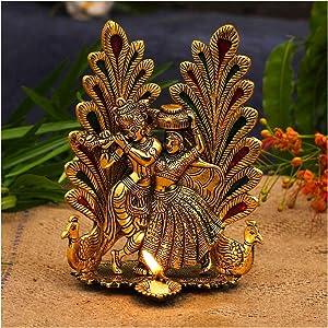 NOBILITY Metal Gold Plated Radha Krishna Idol Statue with Diya Peacock Design Hindu Religious Radha Krishan Showpiece Figurine for Janmashtami Home Temple Pooja Decor Wedding Gift - Size 8 x 6 Inches